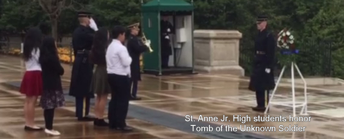 St. Anne's Junior High students honor the Tomb of the Unknown Soldier