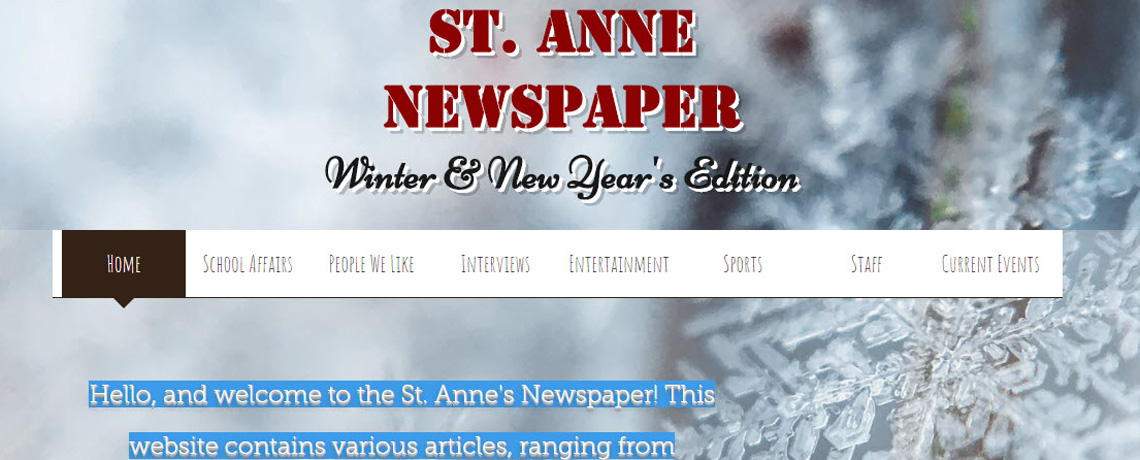 St. Anne Newspaper 2017-2018
