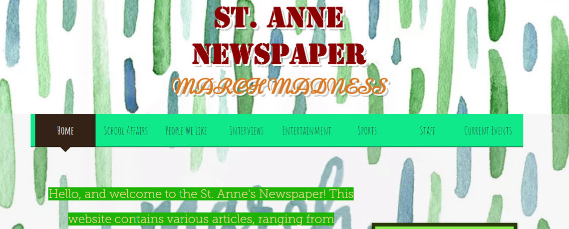 St. Anne Newspaper 2017-2018